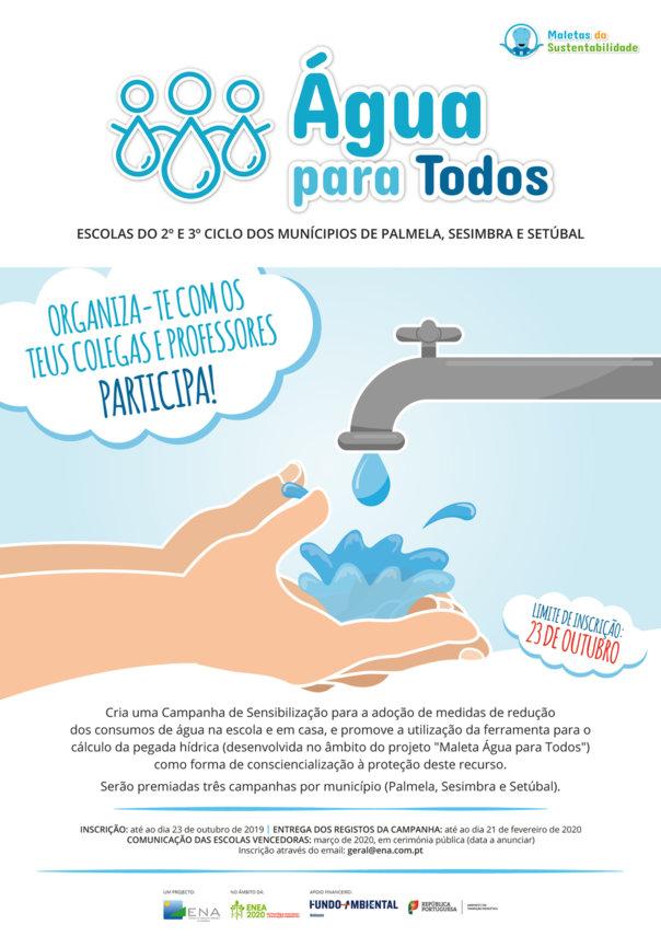 """Concurso """"Água para Todos"""" Escolas do 2º e 3º Ciclo dos municípios de Palmela, Sesimbra e Setúbal - Inscrições até 23 de outubro 2019"""